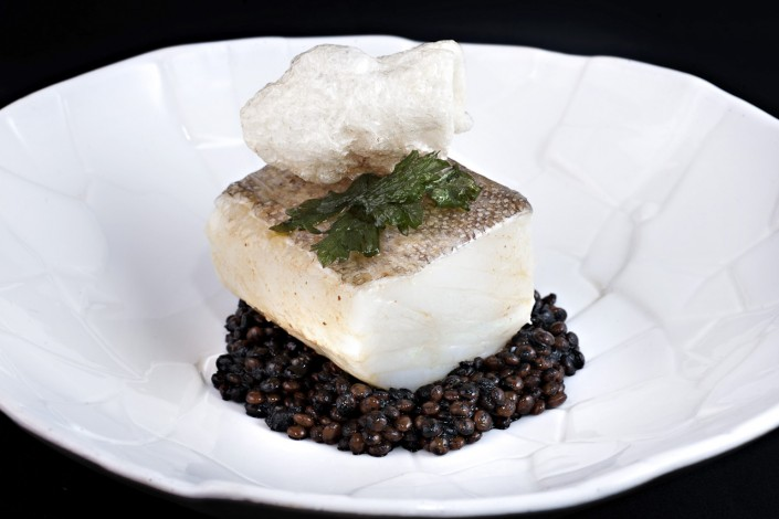 """Pil Pil"" codfish, black lentils, sea urchin oil"