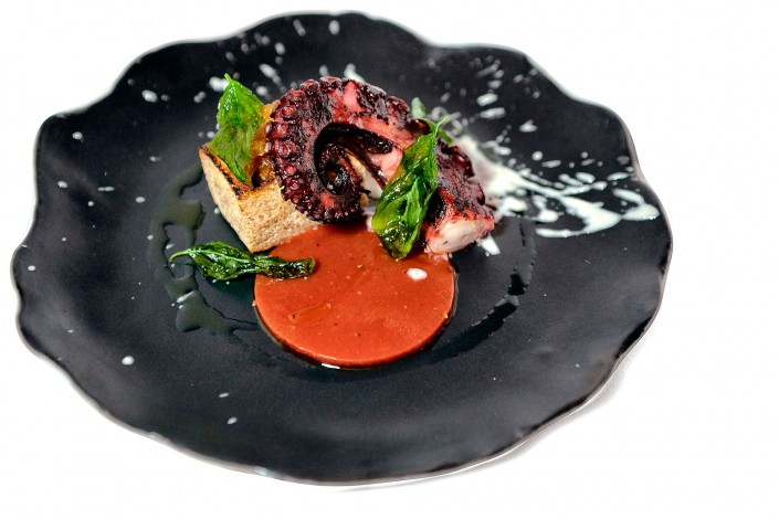 Grilled octopus, gelly tomato, sweet garlic sauce and celery jam Chef Andrea Madonia