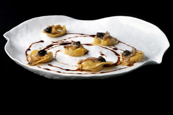 Pumpkin ravioli, bacon & prunes